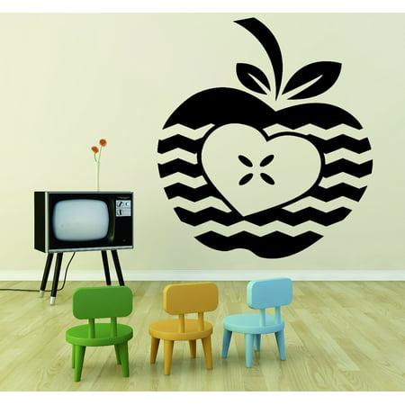 Custom Wall Decal Sticker : Apple Heart Student Teacher Classroom 12x18 Inches (Apple Theme Classroom)