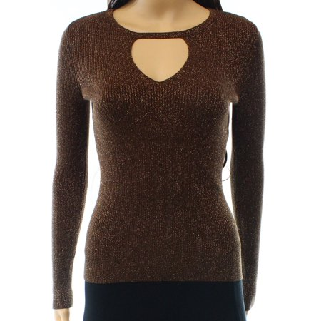 INC NEW Brown Women Size Medium M Shimmer Ribbed Stretch Keyhole -