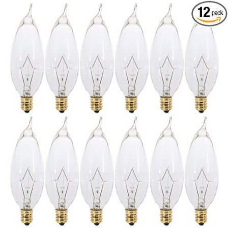 - (12 Pack) 60 Watt Clear Flame Shaped Incandescent, Candelabra Base Chandel...