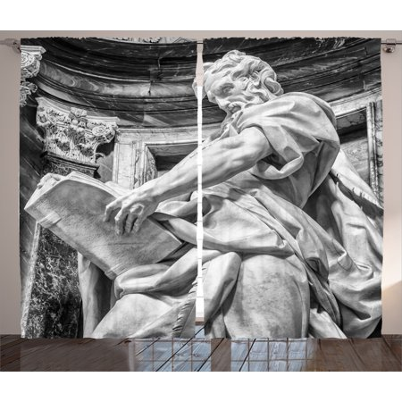 Sculptures Decor Curtains 2 Panels Set, Statue Of St. Matthew At The Basilica Of St. John Lateran In Rome Cthedra With Pillars, Living Room Bedroom Accessories, By Ambesonne John Deere Curtain