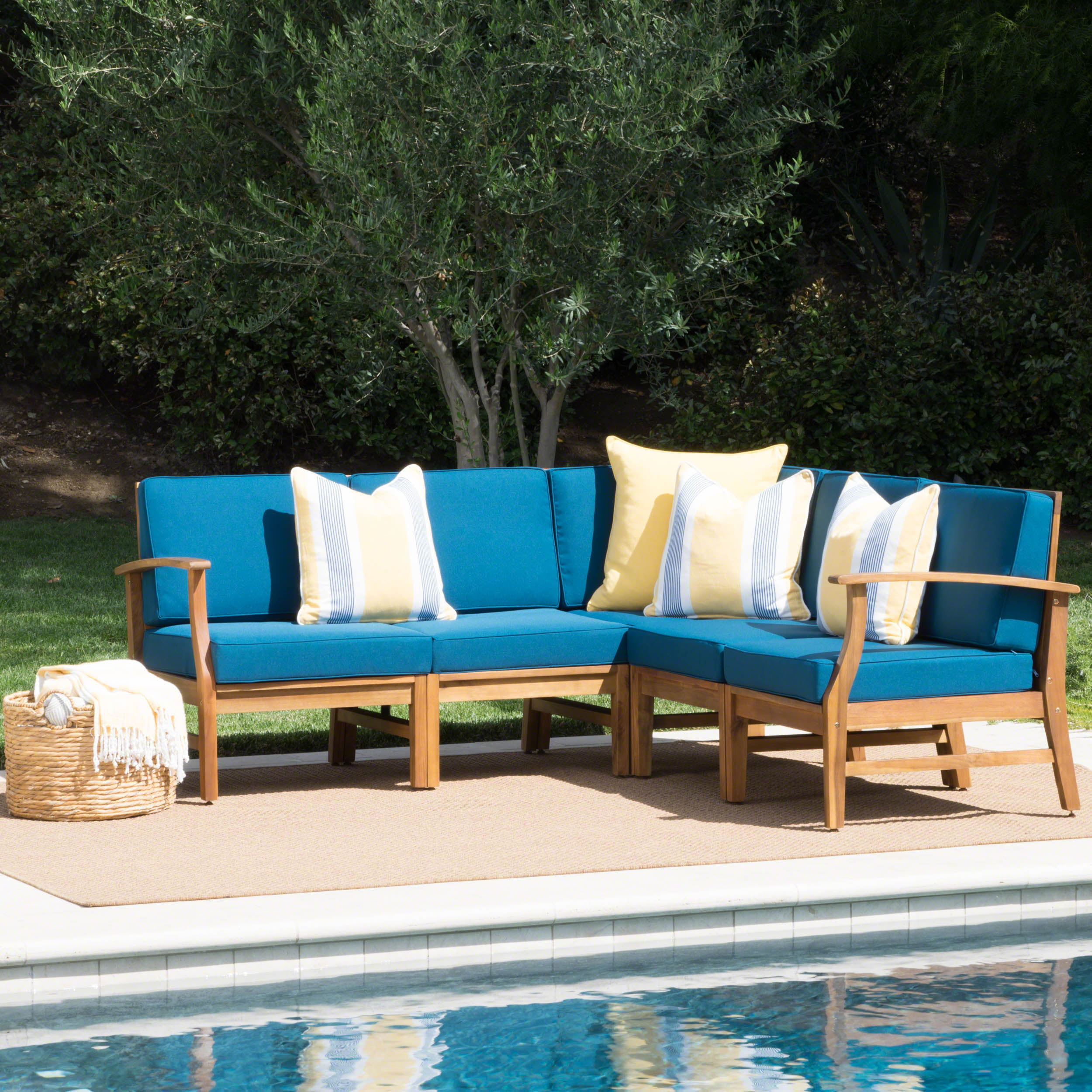 Outdoor 5 Piece Chat Set Polyester Cushions Garden Patio
