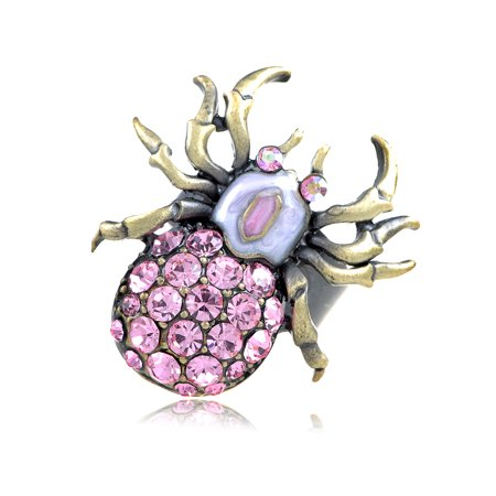 Rose Pink Crystal Rhinestone Body Spider Insect Bug Costume Design Jewelry Ring](Spider Rings Bulk)