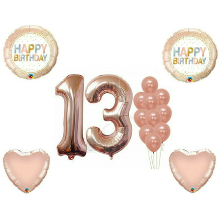 Rose Gold 13th Birthday Party Balloons Decoration Supplies Dots Thirteen - 13th Birthday Ideas