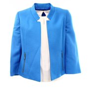 Kasper NEW Blue Surf Women's 6 Open Front Zip-Pockets Textured Jacket