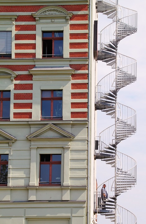 Laminated Poster Architecture Fire Escape Spiral Staircase Stairs Poster  Print 24 X 36