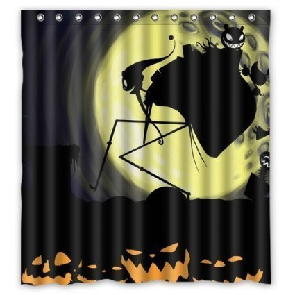 DEYOU Anhome Pumkin Demon Moonlight Nightmare Before Christmas Shower Curtain Polyester Fabric Bathroom Size