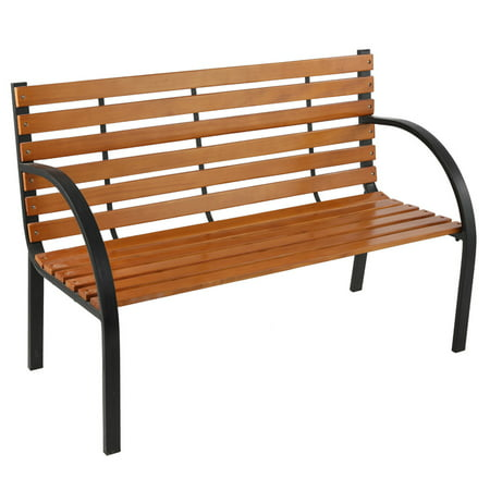 Garden Bench Curved Armrest Porch Chair Weather-resistant Sturdy Outdoor Furniture for Patio Backyard