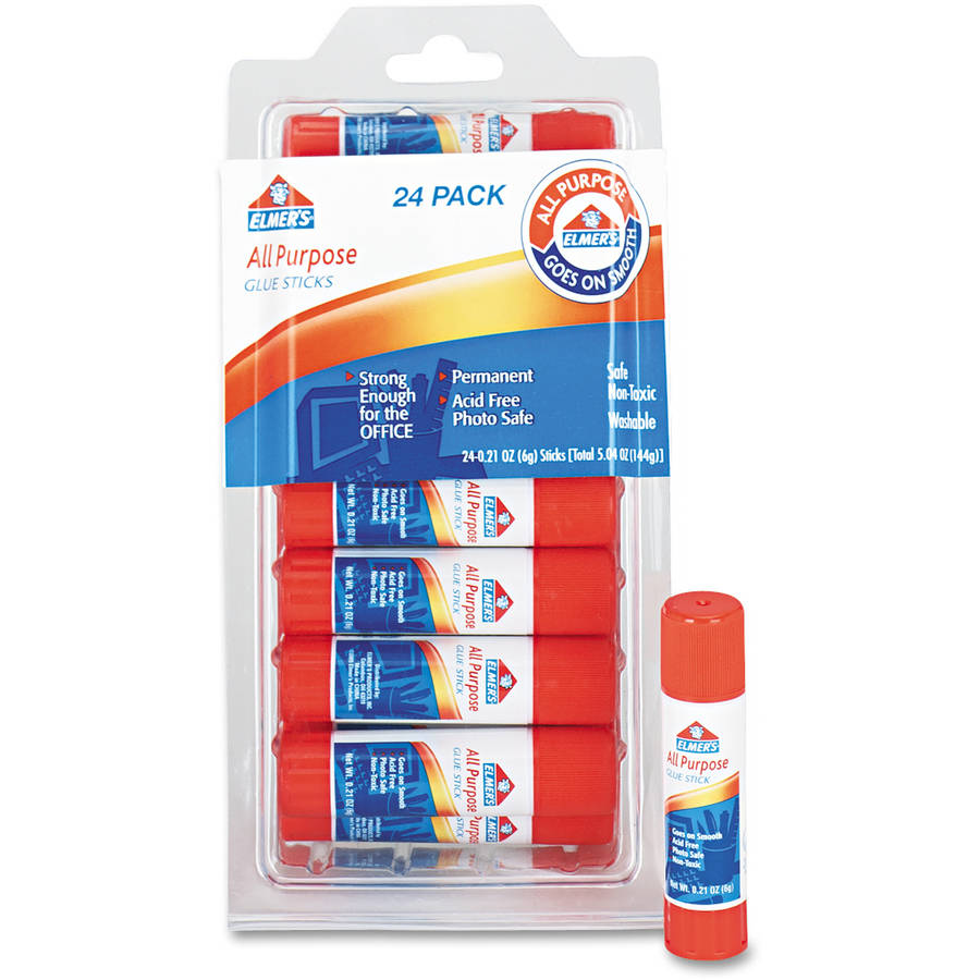 Elmer's All-Purpose Permanent Glue Stick, White Application, .21 oz, 24/Pack