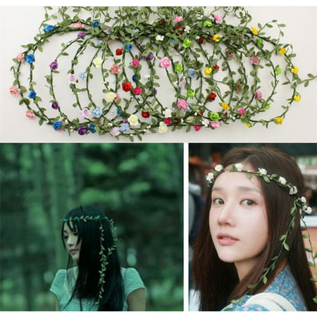 New Women Headpiece Girls Pansies Flower Crown Bridal Headband Elastic Rosette - Blue Headpiece
