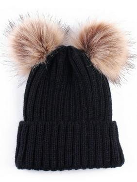 Winter Baby Girls Boys Warm Knitted Pom Bobble Beanie Hat Kids Cotton Cap