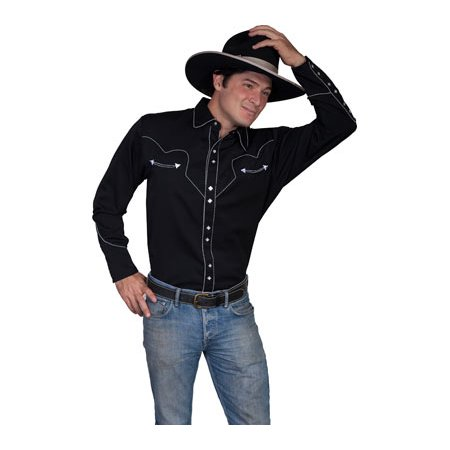 fcc17357dbd Scully - Scully Western Shirt Mens L S Snap Solid Candy Cane Piping P-726 -  Walmart.com