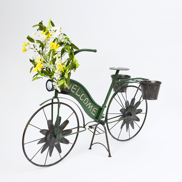 37'' Inch Long Solar Lighted Metal Bicycle with Pot Planters by Supplier Generic