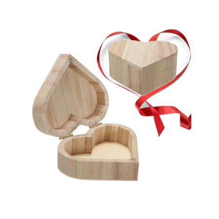 Heart jewelry cases Shape DIY Wooden Wood Jewelry Box Ring Earrings Case Gift Unfinished Unpainted Plain Ready to Paint Christmas](Diy Ring Box)