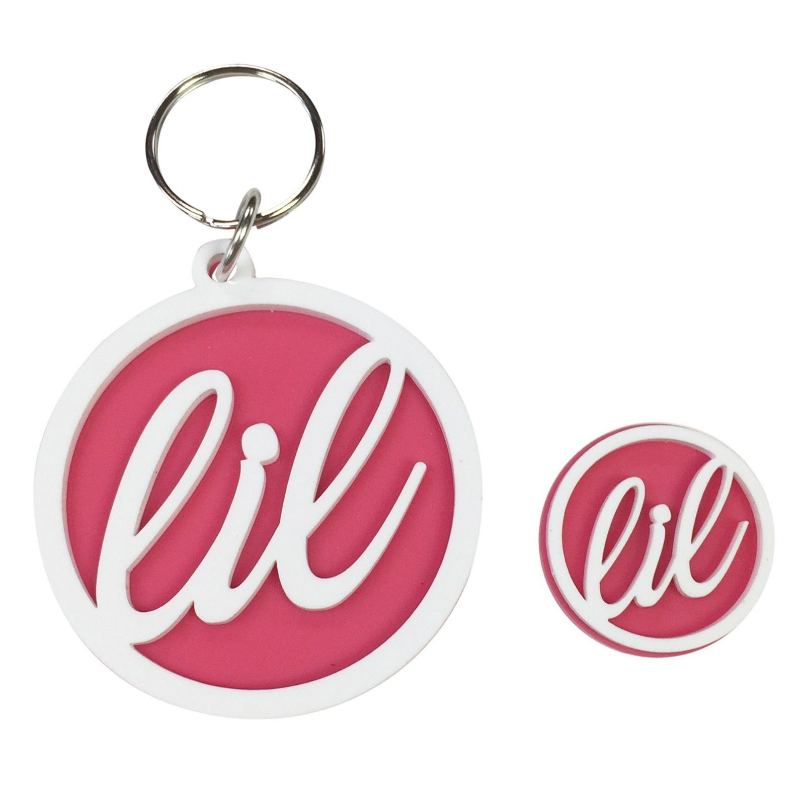 Little Sister Sorority Plastic Pin & Keychain (White on Pink)