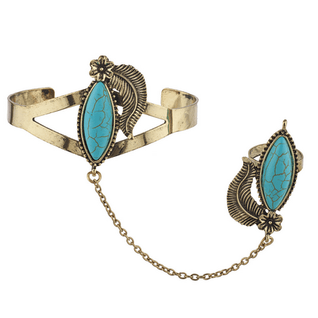 (Lux Accessories Burnished Gold Tone Synthetic Turquoise Leaf Cuff Bracelet Ring)