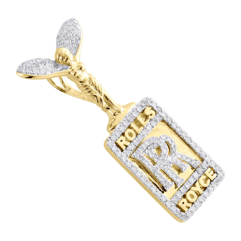14k yellow gold real diamond rolls royce logo pendant unisex pave 14k yellow gold real diamond rolls royce logo pendant unisex pave charm 062 ct walmart aloadofball Gallery