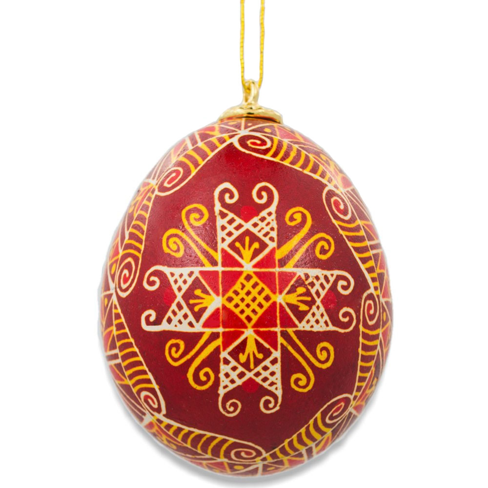 Sopiv Chicken Size Blown Real Ukrainian Easter Egg Pysanky Ornament