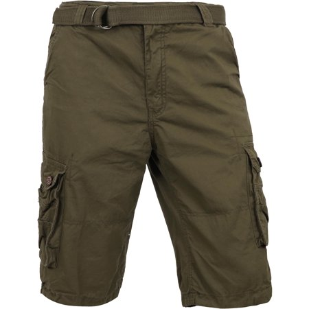 Mp Mens Premium Cargo Shorts With Belt Loose Fit Twill Cotton Pants Multi Pocket Outdoor Wear 1Mpa0001