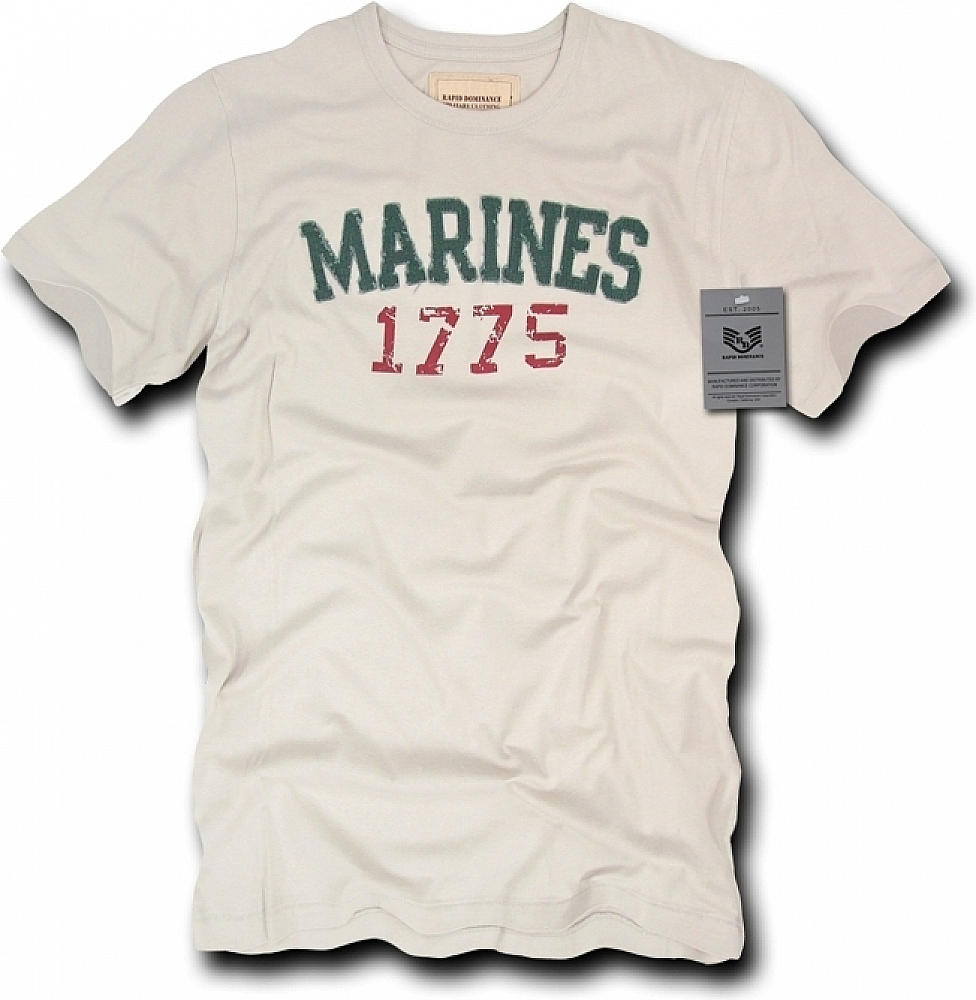 Rapid Dominance R51-MAR-SND-03 Long Beach, Applique Military T-Shirts Marines, Sand, Large