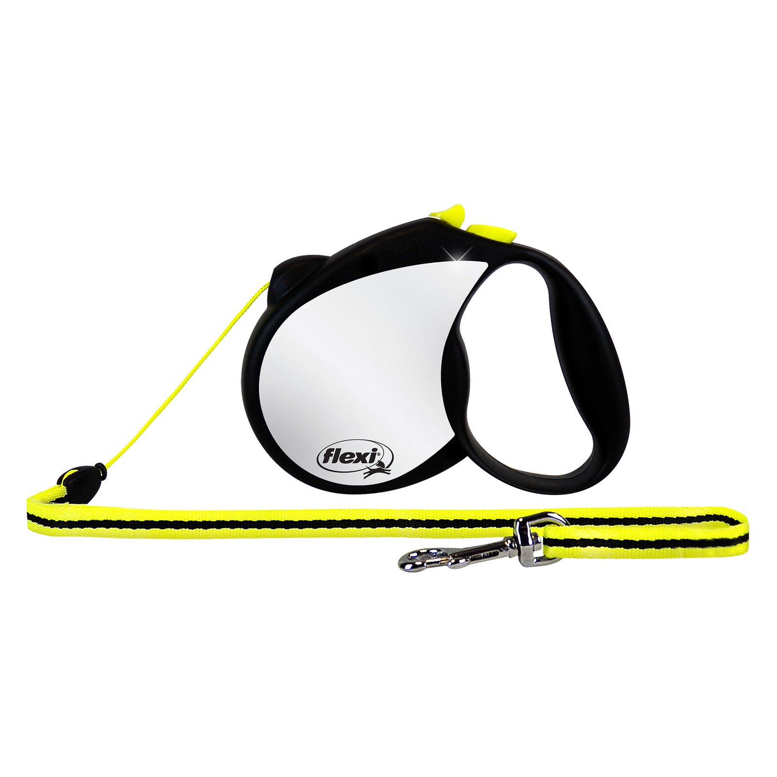 Flexi RFLCT S Small Black and Neon Yellow Reflective Retractable Dog Leash