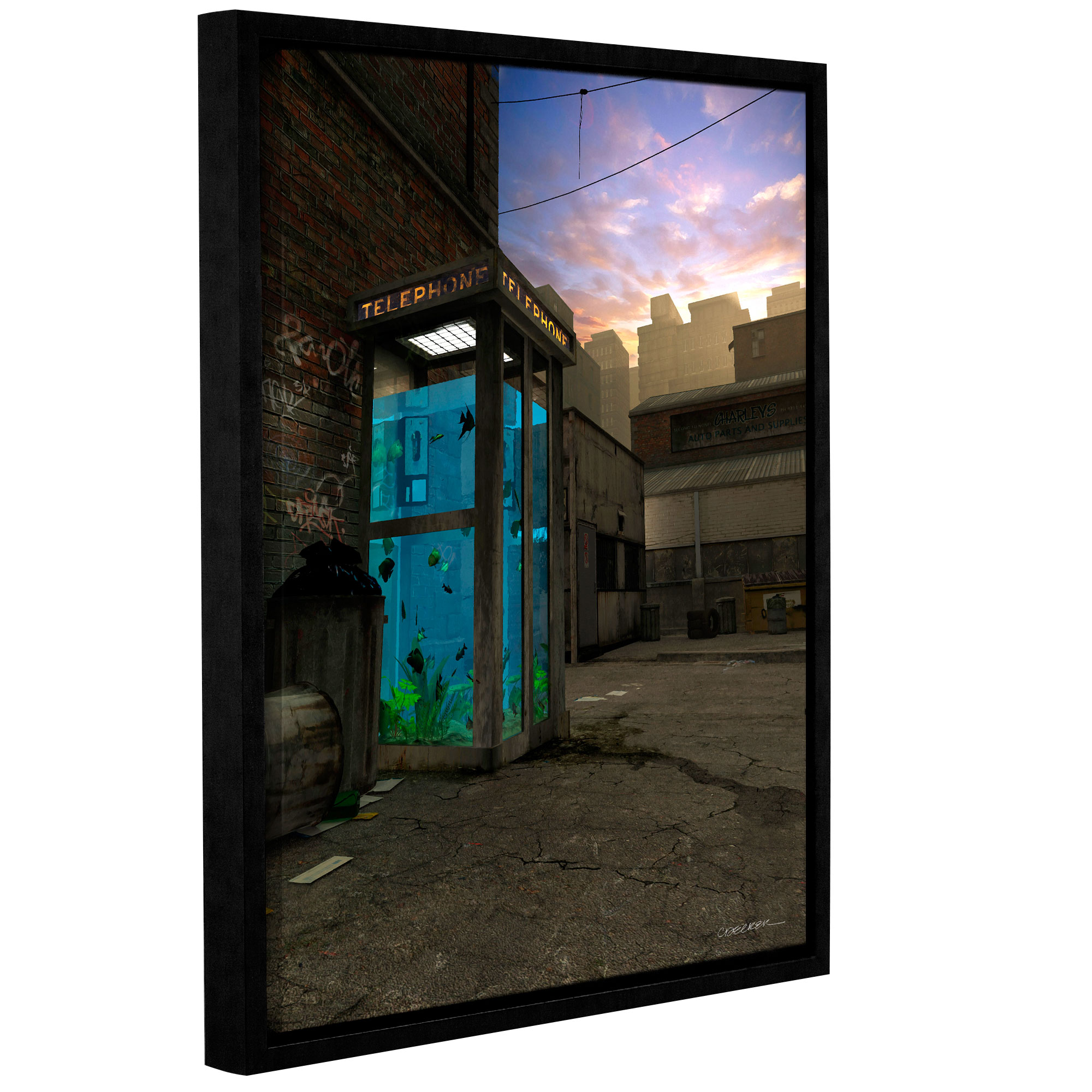 Phone Booth' Gallery Wrapped Floater-framed Canvas Art Print