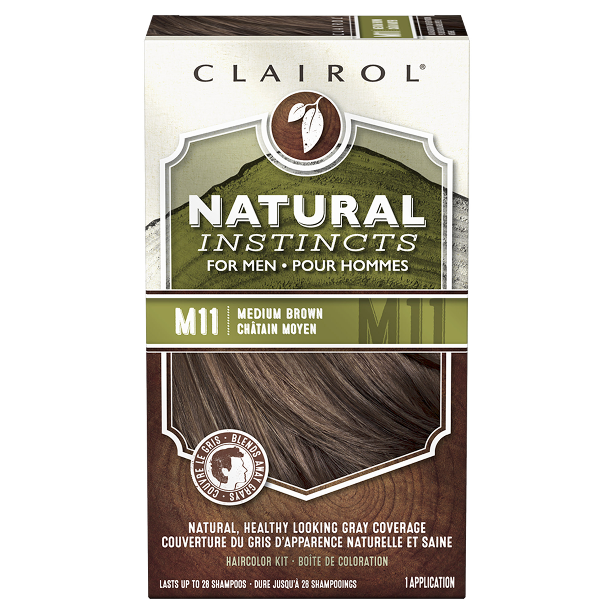 Clairol Natural Instincts Hair Color for Men, M11 Medium Brown