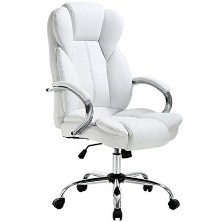 Adjustable Leather Headrest (High Back PU Leather Executive Office Desk Task Computer Chair w/Metal Base O18)