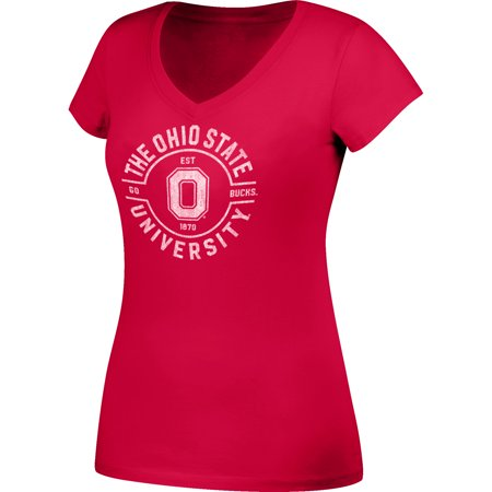 Women's Scarlet Ohio State Buckeyes Distressed V-Neck T-Shirt