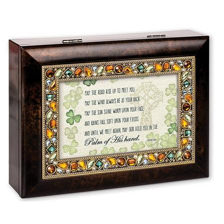 Irish Eyes Garden (Cottage Garden JM217 May the Road Rise Shamrock Emerald Jeweled Music Box plays Irish Eyes)
