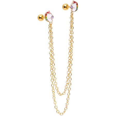 "Body Candy 16G Gold Tone PVD Steel 1/4"" Unicorn Cartilage Chain Earring Double Piercing for Women 6mm"