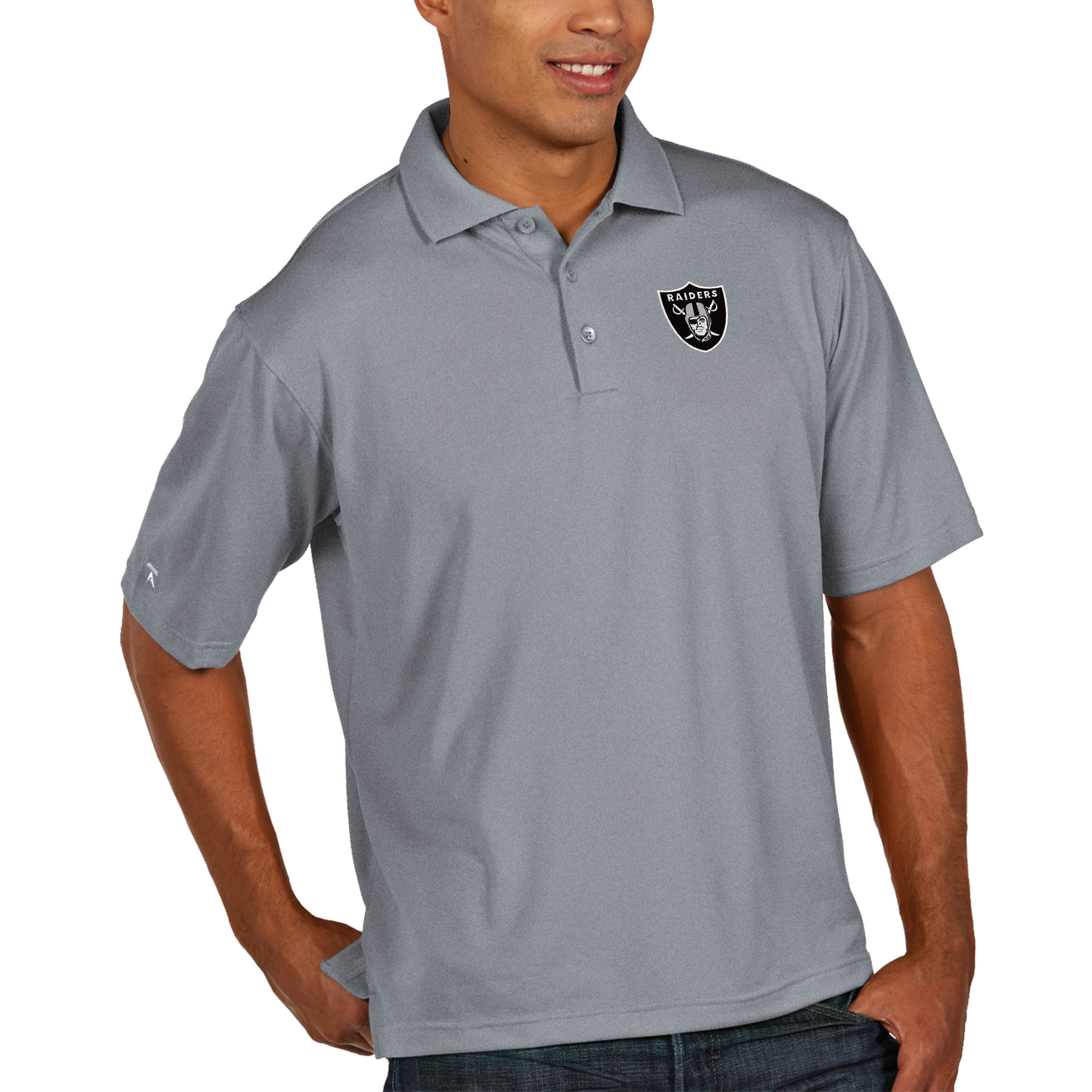 Oakland Raiders Antigua Pique Xtra Lite Big & Tall Polo - Heather Gray