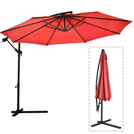 10' Patio Umbrella Offset Hanging Umbrella Outdoor Market Umbrella D10 ()
