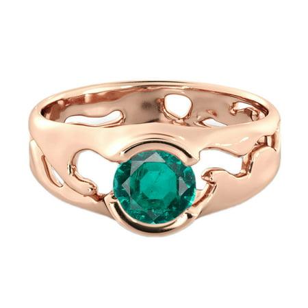 1 CT Lab Created Green Emerald Stone Ring 14K Rose Gold Unique Solitaire Designer