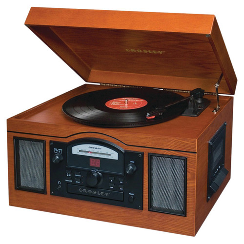 USB Turntable with CD Player & AM/FM Radio in Paprika Finish