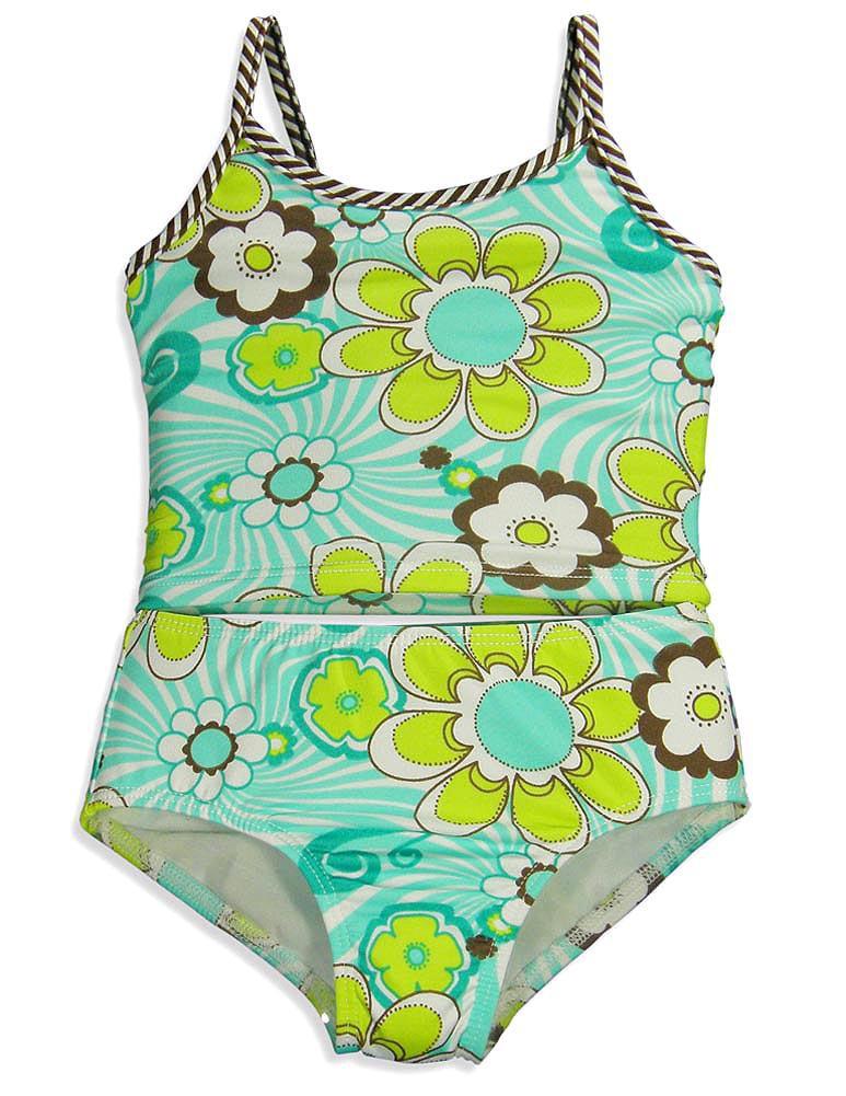 405 South by Anita G- Little Girls 2 Piece Tankini Bathing Suit Aqua Retro Daisy / 5