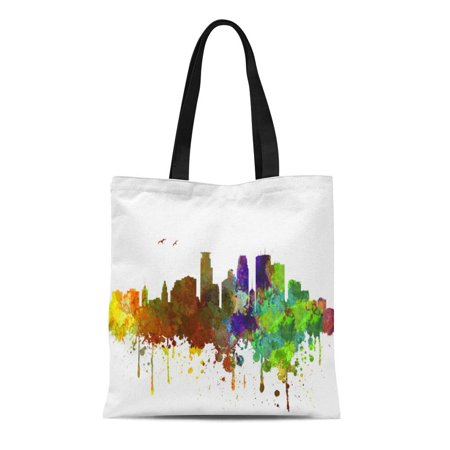 ASHLEIGH Canvas Tote Bag Minneapolis Skyline Reusable Handbag Shoulder Grocery Shopping