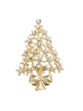 Goldtone Embellished Star Tree Pin in Gift Box