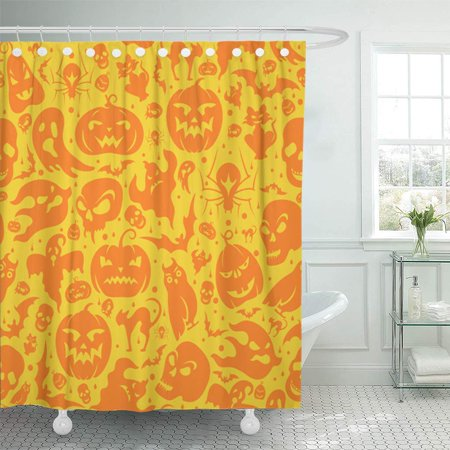 KSADK Brown Doodle Halloween Pumpkin Cat Bat Ghost Skull Yellow Pattern Shower Curtain 66x72 inch - Halloween Pumpkin Patterns Cat