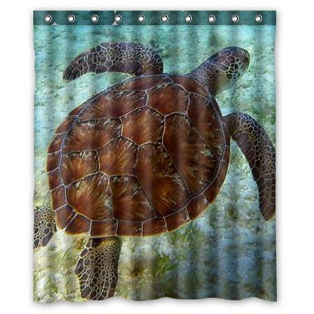 Zkgk Sea Turtle Waterproof Shower Curtain Bathroom Decor Sets With Hooks 66x72 Inches Walmart Com