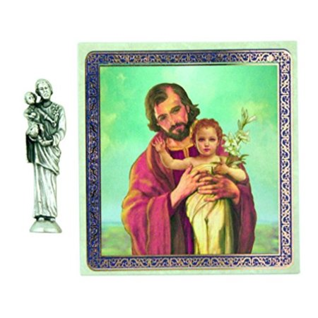 Earthly Father to Jesus Saint Joseph 1 1/2 Inch Pocket Statue with Prayer Card