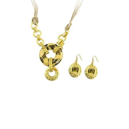 Unique Bargains Gold Tone Black Circle Pendant Necklace Earrings Set