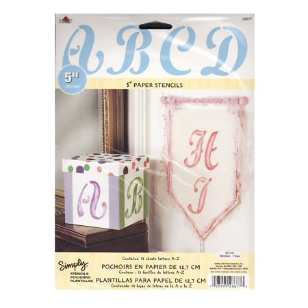 Stencil Letter Value Packs cursive upper case, 5 in. (pack of 4)