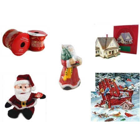 5319 Wax Ribbon - Christmas Fun Gift Bundle [5 Piece] - 2 Rolls Red and Gold Craft Ribbon 2.5 in. x 9 ft. - The Sarah Plain and Tall Collection Sarah's Prairie Home Hallmark 1994 - Wax Santa Candle 7