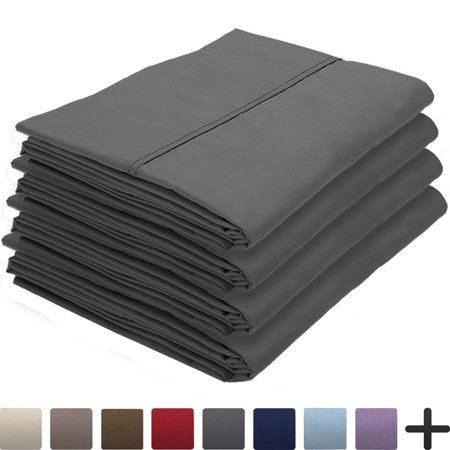 - 4 Pillowcases - Premium 1800 Ultra-Soft Collection - Bulk Pack - Double Brushed - Hypoallergenic - Wrinkle Resistant - Easy Care (Standard - 4 Pack, Grey)