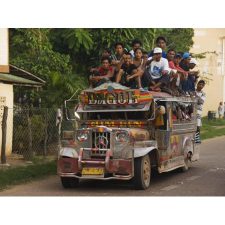 Jeepney Truck with Passengers Crowded on Roof, Coron Town, Busuanga Island, Philippines Print Wall Art By Kober Christian