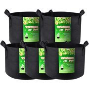 VIVOSUN 5-Pack 10 Gallon Grow Bag, Fabric Pot with Handles for Vegtables and Plants