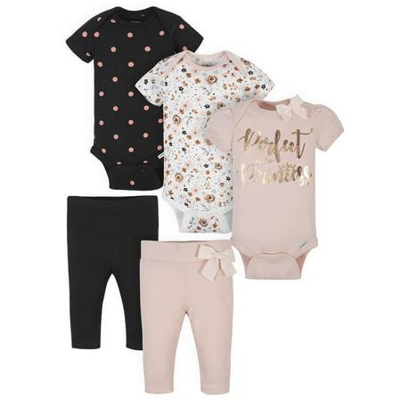 Gerber Baby Girl Organic Onesies Bodysuits and Pants Bundle, 5pc