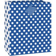 (3 Pack) Royal Blue Polka Dot Gift Bag