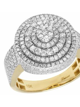 70aec869bb8fe8 Product Image 10K Yellow Gold Real Diamond Round Lollipop Men's Pinky Ring  ...