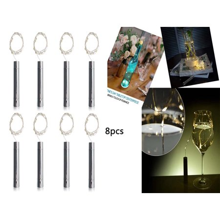 Reactionnx 8 Pack 15-Leds Wine Bottle Cork Lights AA Battery Powered, Warm White Mini Copper Wire Starry String Fairy Lights for DIY, Table Decorations, Wedding, Dancing, Party, Festival - Light Up Table Decorations
